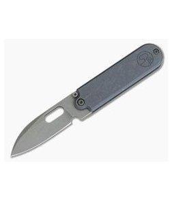 Serge Knife Co. Production Bean Blue Titanium Top Flipper Tumbled M390