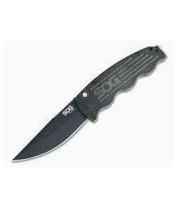 SOG TAC-OPS Black Cerakote Plain S35VN Micarta USA Button Lock Automatic TO1011-BX