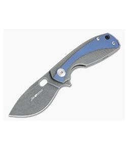 Viper Lille Black Stonewashed M390 Titanium Liner Lock Flipper Blue Anodized Overlay V5963TIBL