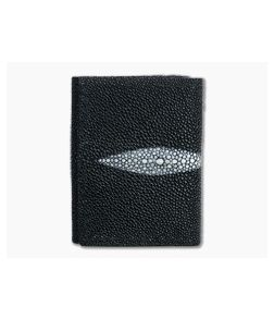 Yoder Leather Company Black Stingray Trifold Wallet