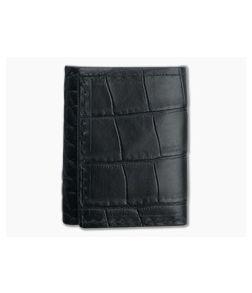 Yoder Leather Company Black Alligator Trifold Wallet