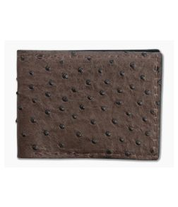Yoder Leather Company Brown Ostrich Regular ID Window Bifold Wallet